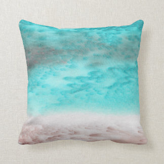 Sand and Seafoam Abstract Silk Pillow