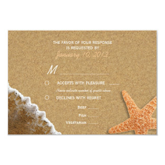 "Sand and Shells Beach RSVP with Meal Options 3.5"" X 5"" Invitation Card"