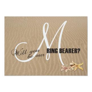 Sand and Starfishes Beach Monogram Ring Bearer Card