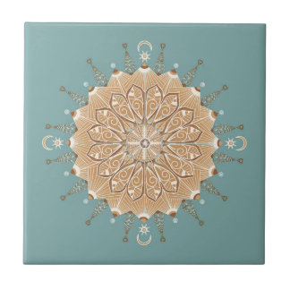 Sand and Turquoise Decorative Ceramic Tile