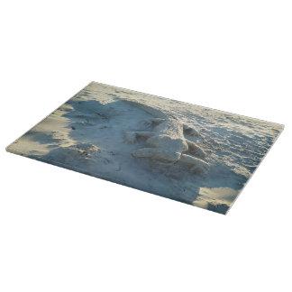 Sand art alligator holding human arm. boards