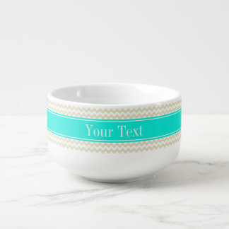 Sand Beige White Chevron Bright Aqua Name Monogram Soup Mug