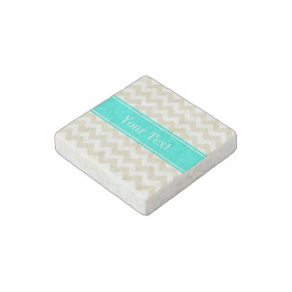 Sand Beige White Chevron Bright Aqua Name Monogram Stone Magnets