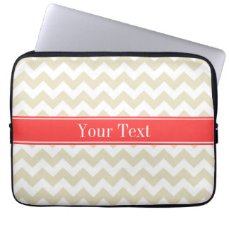 Sand Beige White Chevron Coral Red Name Monogram Laptop Sleeve