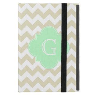 Sand Beige White Chevron Mint Quatrefoil Monogram iPad Mini Covers