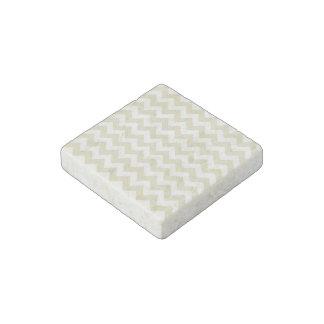 Sand Beige White Chevron Zig-Zag Pattern Stone Magnets