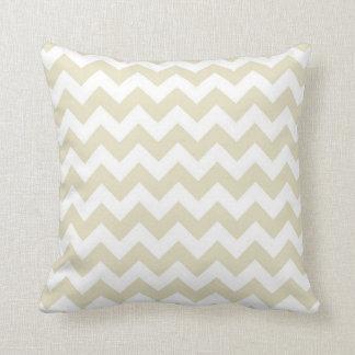 Sand Beige White Chevron Zig-Zag Pattern Throw Pillow