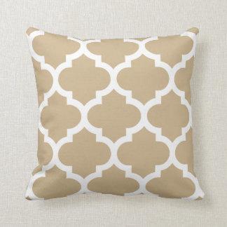 Sand Brown Quatrefoil Pillow