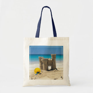 Sand Castle And Pail On Tropical Beach