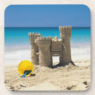 Sand Castle And Pail On Tropical Beach Drink Coasters