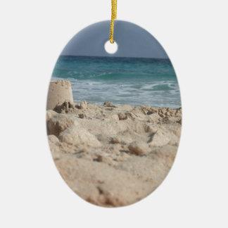 sand castle ceramic oval ornament