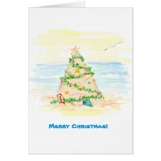 Sand Castle Christmas Tree Card