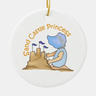 SAND CASTLE PRINCESS ROUND CERAMIC ORNAMENT