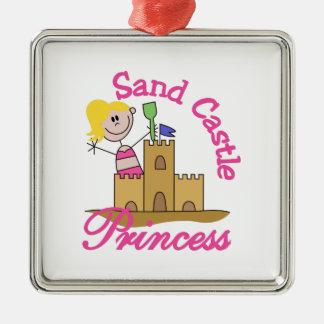 Sand Castle Princess Silver-Colored Square Ornament