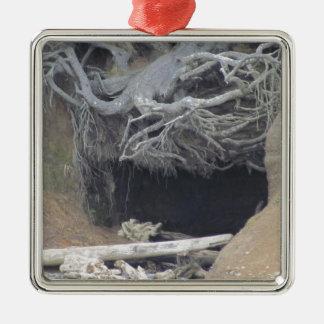 Sand Cave at the Beach Silver-Colored Square Ornament