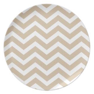Sand Chevron Dinner Plate