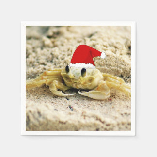 Sand Crab in Santa Hat Christmas Disposable Napkins
