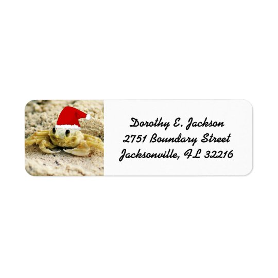 Sand Crab in Santa Hat Christmas Return Address