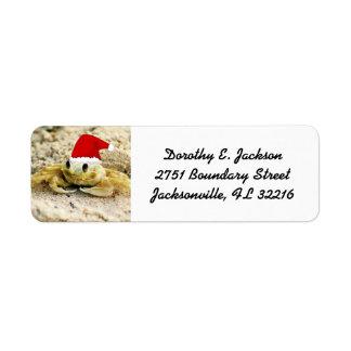 Sand Crab in Santa Hat Christmas Return Address Return Address Label