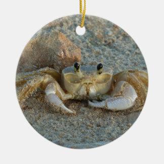 Sand Crab Round Ceramic Ornament