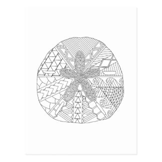 Sand Dollar Adult Coloring Postcard
