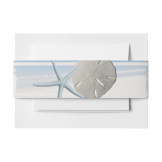 Sand Dollar and Starfish Beach Wedding Invitation Belly Band