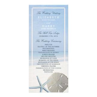 Sand Dollar and Starfish Beach Wedding Program Customized Rack Card