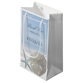 Sand Dollar and Starfish Beach Wedding Small Gift Bag