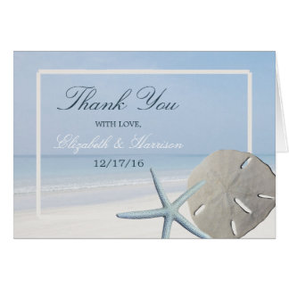 Sand Dollar and Starfish Beach Wedding Thank You Card