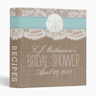 Sand Dollar Beach Bridal Shower Recipe - Turquoise Vinyl Binder