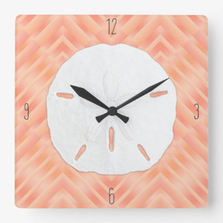 Sand Dollar Beach Numbers Square Wall Clock