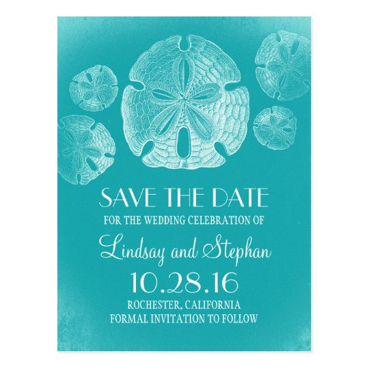Sand Dollar Beach Turquoise Save the Date Postcard