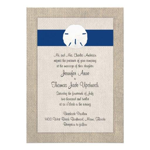 Sand Dollar Beach Wedding Invitation Peacock Blue