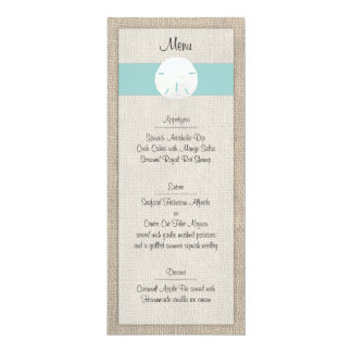 Sand Dollar Beach Wedding Menu Card