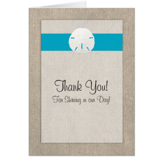 Sand Dollar Beach Wedding Thank You Card  - Malibu