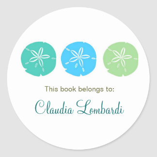 Sand Dollar Bookplates Classic Round Sticker