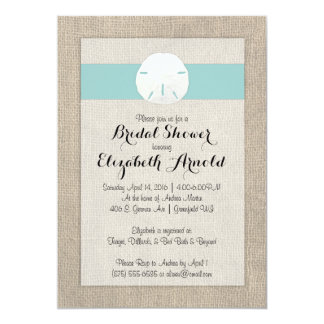 "Sand Dollar Burlap Beach Wedding Bridal Shower 5"" X 7"" Invitation Card"
