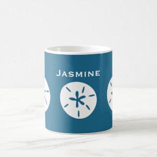 Sand dollar ocean blue color personalize coffee mug