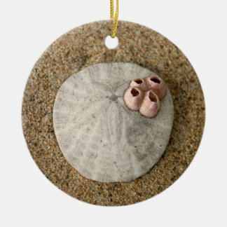 Sand Dollar on Beach Ceramic Ornament