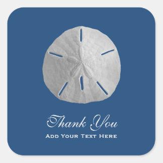 Sand Dollar on Dark Blue Thank You Square Sticker