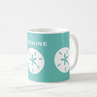 Sand dollar pattern beach theme personalize coffee mug