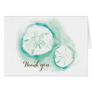 Sand Dollar Seafoam Thank You Card