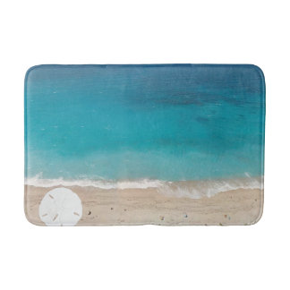 Sand Dollar Seashore Blue Ocean Bath Mat