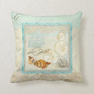 Sand Dollar Shell Coastal Beach Home Decor Pillow
