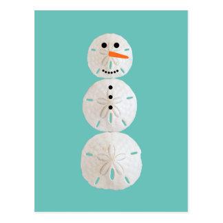 Sand Dollar Snowman Postcard