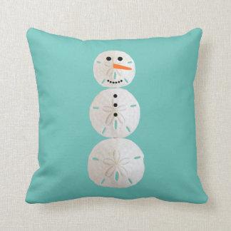 Sand Dollar Snowman Throw Pillow