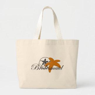 Sand Dollar Starfish Bridesmaid Large Tote Bag
