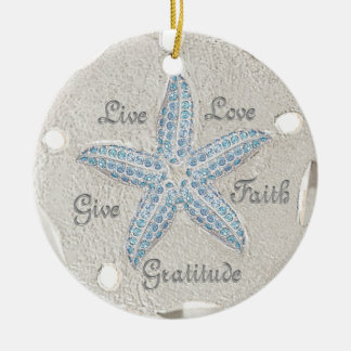 Sand Dollar Starfish Gem Ornament