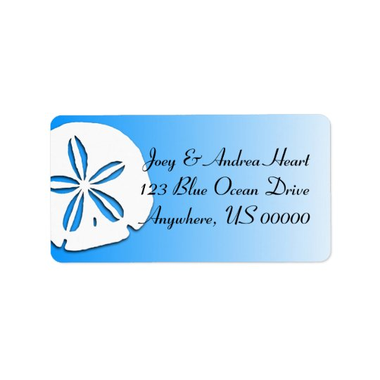 Sand Dollar Tropical Blue Return Address Label