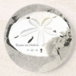 Sand Dollar Wedding Date Coaster